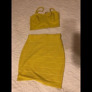 Misguided Neon yellow / green co-ord skirt set